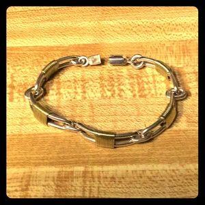 Sterling & 14k Modernist Bracelet
